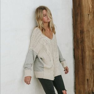 """""""By Together"""" Cable Knit Contrast Sweater"""